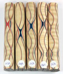 Three Veneer Serpentine Blank - Patriotic Curly Maple #103-107A
