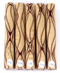 Three Veneer Serpentine pen blank - Curly Maple W/ Bloodwood Veneers #111-115B