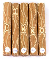 Three Veneer Serpentine pen blank - Mesquite W/ Maple & Mahogany Veneers #116-120B