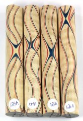 Three Veneer Serpentine Blank - Patriotic Curly Maple #123-126A
