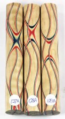 Three Veneer Serpentine Blank - Patriotic Curly Maple #127-129A