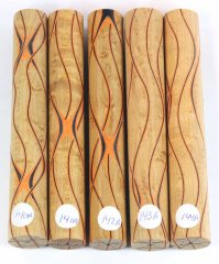 Three Veneer Serpentine Blank - Birdseye Maple W/ Black & Orange Veneers #140-144A
