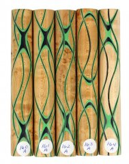 Three Veneer Serpentine Blank - Birdseye Maple W/ Black & Emerald Veneers #160-164A