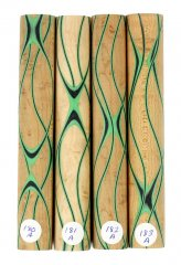 Three Veneer Serpentine Blank - Birdseye Maple W/ Black & Emerald Veneers #180-183A
