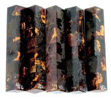 Hand Scroll Sawed Wenge Hybrid Pen Blanks in Chocolate Gold Resin #41-45L