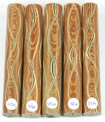 Three Veneer Serpentine pen blank - Lacewood #47-51A