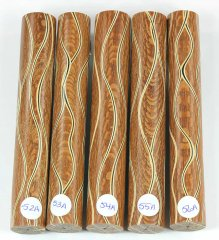 Three Veneer Serpentine pen blank - Lacewood #52-56A