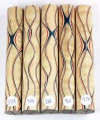 Three Veneer Serpentine pen blank - Patriotic Curly Maple #93-97A