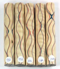 Three Veneer Serpentine pen blank - Patriotic Curly Maple #98-102A