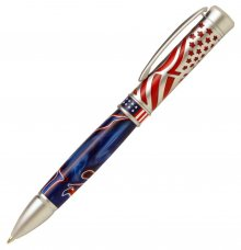 American Pride Ballpoint Pen Kit - Satin Chrome.
