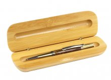 Bamboo Single Pen Gift Box - Wide. Open view