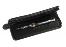 Single Pen Leatherette Case - Black