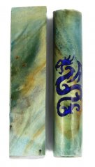 Blue Dragon Rotacrylic pen blank - Stabilized Box Elder Burl