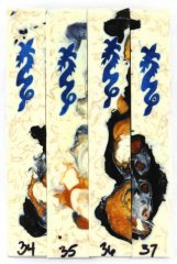 Blue Ice Dragon Scrolled Pen Blanks #34-37