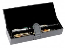Double Black Leather Pen Box w/ Removable Insert