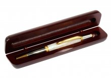 Single Bubinga Pen Box. Open View.