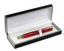 Carbon Fiber Pen Box. Open with Red Jr George Pen
