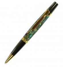 Diamond Knurl Ballpoint Pen Kit - Titanium Gold & Black Titanium