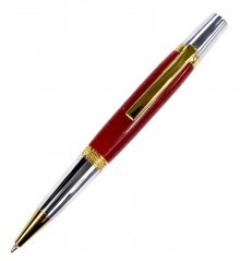 Diamond Knurl Ballpoint Pen Kit - Titanium Gold & Chrome