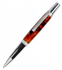 Diamond Knurl Ballpoint Pen Kit - Chrome & Satin Chrome (Satin Nib)