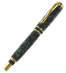 Diamond Knurl Rollerball Pen Kit - Ti Gold & Black Chrome