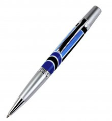 Diamond Knurl Ballpoint Pen Kit - Satin Chrome & Chrome (Chrome Nib)