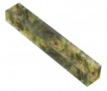 Buckeye Burl Double Dyed and Stabilized - Yellow & Green