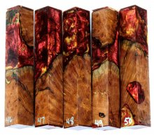 Red Mallee Burl Hybrid Pen Blanks #46-50PP