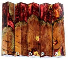 Red Mallee Burl Hybrid Pen Blanks #51-55PP
