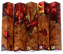 Red Mallee Burl Hybrid Pen Blanks #56-60PP