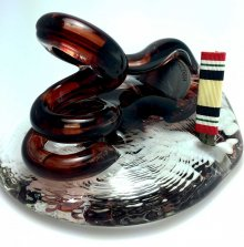 Military Service Ribbon Art Glass Pen Holder - Iraq #03
