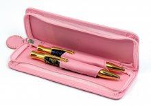 Two Pen Leatherette Case - Pink