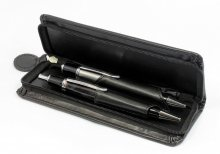 Two Pen Leatherette Case - Black