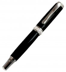 Jr. Aaron Fountain Pen - Black Titanium & Rhodium
