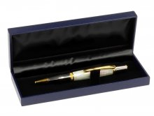 Leatherette Pen Box - Navy. Open View shown with a pen.