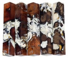 Wormy Madrone Burl Hybrid Pen Blanks #106-110RR
