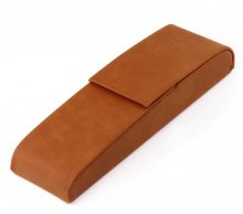 Leatherette Two Pen Case - Caramel