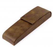 Leatherette Two Pen Case - Rawhide