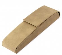 Leatherette Two Pen Case - Tan. Closed View