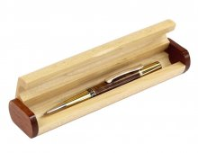 Maple Pen Box With Contrasting Accents - Narrow. Open