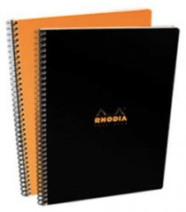 Rhodia Classic Notebook - Side Wirebound 9 x 11.75 Lined Paper - Choose Orange or Black