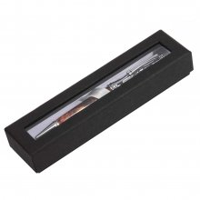 Textured Linen Window Pen Box - Black