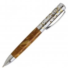 Filigree Ballpoint Twist Pen Kit - Chrome Over Satin Gold