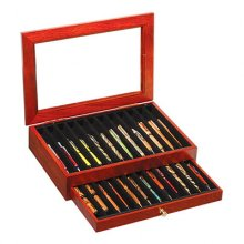 Rosewood Glass Top Pen Display Case - 24 Pens
