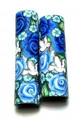 Melanie's Polymer Clay Pen Blank - Blue Roses & Doves