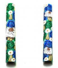 Melanie's Polymer Clay Pen Blank - Blue & Green Roses With Rams