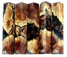 Red Mallee Burl Hybrid Pen Blanks #146-150RR