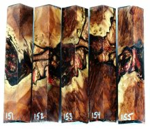 Red Mallee Burl Hybrid Pen Blanks #151-155RR