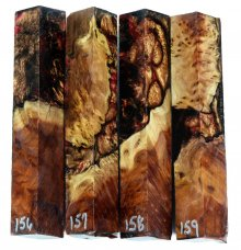 Red Mallee Burl Hybrid Pen Blanks #156-159RR