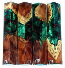 Red Mallee Burl Hybrid Pen Blanks #176-179RR